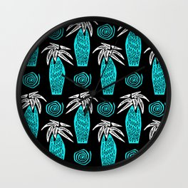 Palm Tree on Black Wall Clock