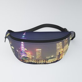 Shanghai Cityscape At Night Fanny Pack