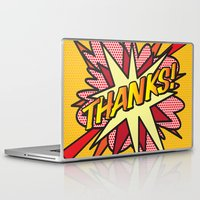 comic book Laptop & iPad Skins featuring Comic Book THANKS! by The Image Zone