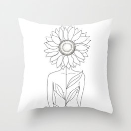 Minimalistic Line Art of Woman with Sunflower Throw Pillow