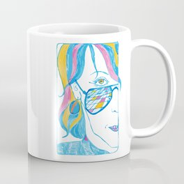 Girl with blue glasses, yellow eyes and color hair Coffee Mug