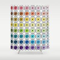 pantone Shower Curtains featuring Pantone Eyes  by Gabriel J Galvan