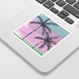 two palm trees sunset sky Sticker