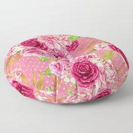 Pink & Gold Vintage Floral Pattern Floor Pillow