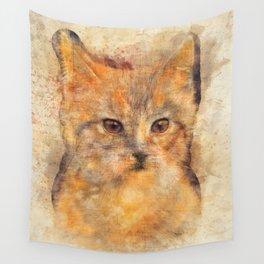 Ginger cat art Wall Tapestry