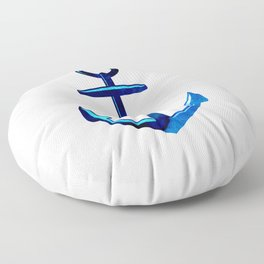 Nautical Anchor In Dark And Light Blue Floor Pillow