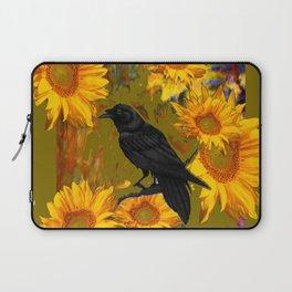 CROW & SUNFLOWERS KHAKI ART Laptop Sleeve