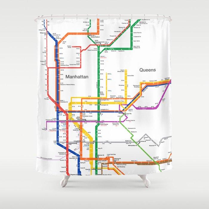 Ny Subway Map Shower Curtain.New York City Subway Map Shower Curtain By Igorsin