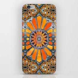 Celebrating the 70's - tangerine orange watercolor on grey iPhone Skin