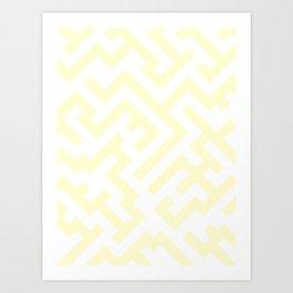 White and Cream Yellow Diagonal Labyrinth Art Print