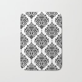 Black and White Damask Bath Mat