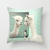 selfie Throw Pillows featuring SELFIE by Monika Strigel