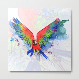 Abstract Parrot Macaw Metal Print
