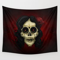 day of the dead Wall Tapestries featuring Day Of The Dead by Adamzworld