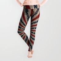 patriotic Leggings featuring Patriotic Wood Texture #3 by Juliana RW