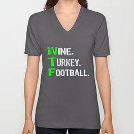 Top Fun Wine Turkey Football Thanksgiving Unisex V-Neck
