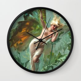 "Luis Ricardo Falero ""The Poppy Fairy (also known as La Femme Papillon)"" Wall Clock"