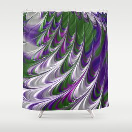 Purple and Green Abstract Shower Curtain