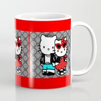 rockabilly Mugs featuring Rockabilly Kitty by BURPdesigns