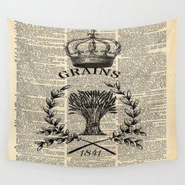 librarian book dictionary print vintage crown french farmhouse wheat bouquet Wall Tapestry