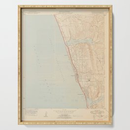 Encinitas, CA from 1949 Vintage Map - High Quality Serving Tray
