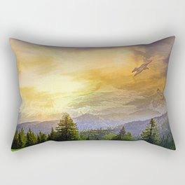 Eagles watch over the Valley Rectangular Pillow
