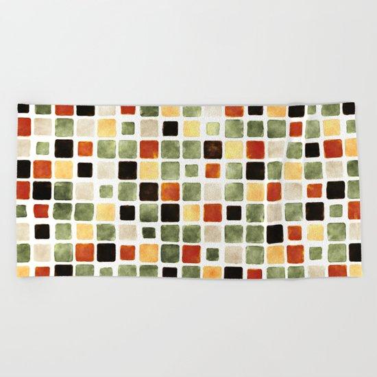 Grunge Pattern Watercolor Tiles Beach Towel
