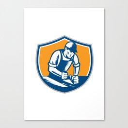Carpenter Woodworker Plane Crest Retro Canvas Print