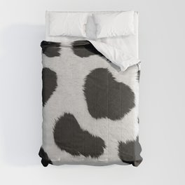 Black and white realistic cow fur texture Comforters