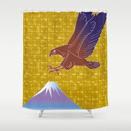Eagle and Mt,Fuji on Gold-leaf Screen Shower Curtain
