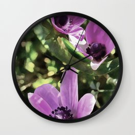 Three Spring Anemone Flowers Wall Clock