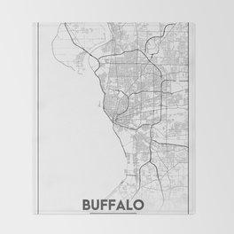 Minimal City Maps - Map Of Buffalo, New York, United States Throw Blanket