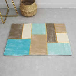 Painted Canvas Color Blocks // Caribbean Blues, Brown, Wheat, Gold Rug