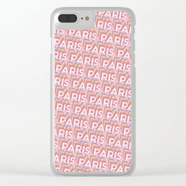 Paris, France Trendy Rainbow Text Pattern (Pink) Clear iPhone Case