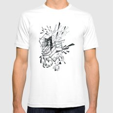 no exit MEDIUM White Mens Fitted Tee