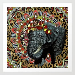 Elephant Red and Gold Indian Yoga Mandala Art Print