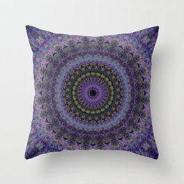 Floral mandala in violet and purple tones Throw Pillow