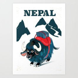 Nepal Yak Vintage travel poster Art Print