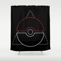 pokeball Shower Curtains featuring pokeball by Winter Graphics