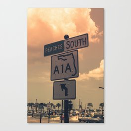 A1A South To The Beaches Canvas Print