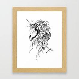 Skull Unicorn Framed Art Print