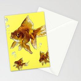 PRIZE WINNING BLACK-GOLDFISH YELLOW ART Stationery Cards