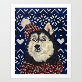 Husky in a Hat and Scarf Art Print