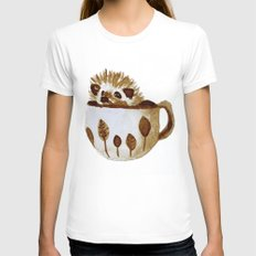 Hedgehog in a Cup Painted with Coffee White Womens Fitted Tee MEDIUM