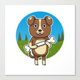 Dog & Bone Canvas Print