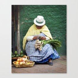 Vegetable and Fruit vendor, Cuenca, Ecuador Canvas Print