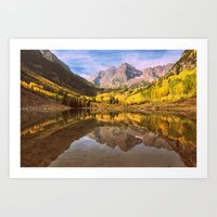 mountains Art Prints featuring mountains. Mirror Lake by 2sweet4words Designs
