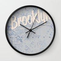 brooklyn Wall Clocks featuring Brooklyn by Dweezle