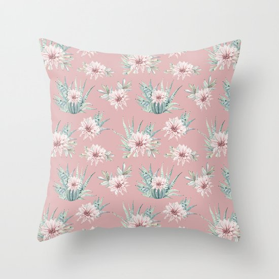 Echeveria Garden Roses Coral Rose Pink Throw Pillow by Nature Magick Society6