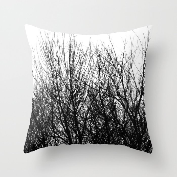 Black white modern abstract tree branch pattern Throw Pillow